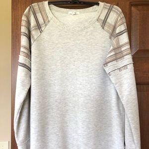 Maurices raglan sleeve sweatshirt with plaid